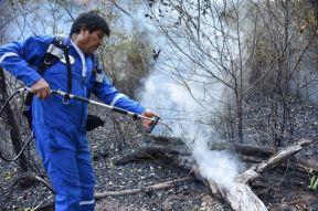 Evo Morales fighting fires